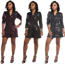 Trendy Shinny Sequins Full Sleeve Long Coats TR-989