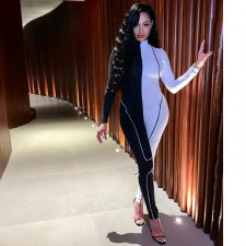 Contrast Color Long Sleeve Activewear Jumpsuits AIL-066