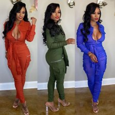 Solid Front Zipper Sashes Casual One Piece Jumpsuits BN-9214