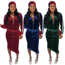 Solid Velvet Long Sleeve Zipper Two Piece Skirt Sets OY-6071