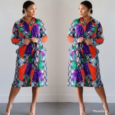 Casual Printed Long Sleeve Button Up Midi Shirt Dress HM-6171