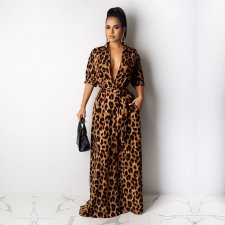 Leopard Print Half Sleeve Buttons Maxi Dress TE-3893