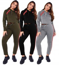 Casual Hooded Tracksuit Two Piece Sets MX-10835