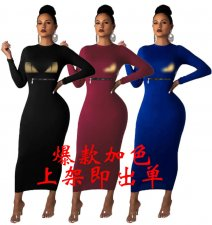 Trendy Long Sleeve O Neck Slim Maxi Dress FSL-059