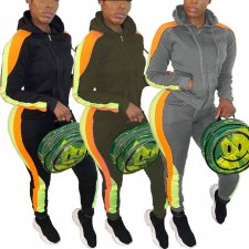 Plus Size Hooded Zipper Tracksuit 2 Piece Sets CQ-5297