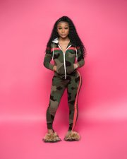 Plus Size Camo Print Zipper Hooded Two Piece Suits YN-057