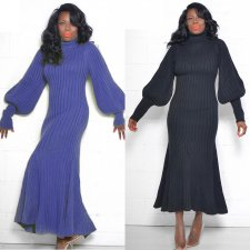 Solid Turtleneck Lantern Sleeve Mermaid Maxi Dress CH-8087