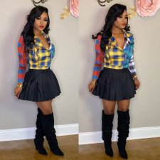 Fashion Plaid Print Long Sleeve Mini Skirt Sets MX-10836