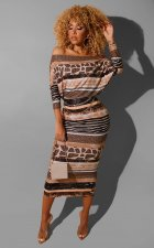 Sexy Printed Slash Neck Long Sleeve Maxi Dress LS-0294