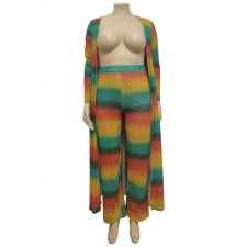 Plus Size Rainbow Color Long Cardigan And Pants Sets OMF-155