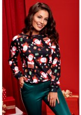 Christmas Santa Claus Print Long Sleeves Tops WY-6489