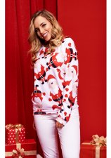 Christmas Santa Claus Printed Long Sleeve Pullover Tops WY-6490