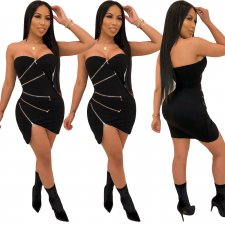 Sexy Strapless Zipper Bodycon Mini Tube Dresses YIY-5142