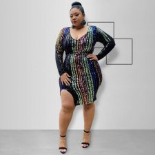 Plus Size 5XL Sexy Sequin Split Bodycon Dresses OSS-19520
