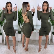 Sexy Lace Up Backless Full Sleeve Bodycon Dress YM-9187