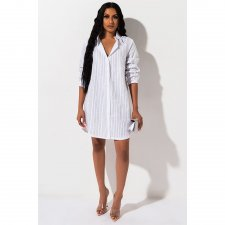 Sexy Striped Hot Drilling Long Sleeves Shirt Dress ASL-6231