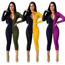 Contrast Color Casual Long Sleeve Skinny Jumpsuits TR-995