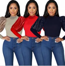 Solid Sequin Patchwork Long Sleeve Pullover Tops YH-5132
