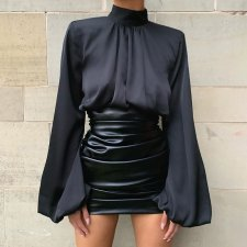 Sexy Lantern Sleeves High Neck Crop Tops FL-96246