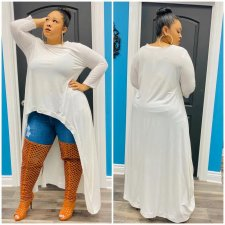 Plus Size Solid Long Sleeve High Low Hem Maxi Tops OMF-199