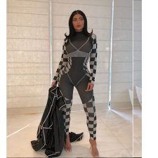 Sexy Plaid Print Long Sleeve Bodycon Jumpsuits YF-9577
