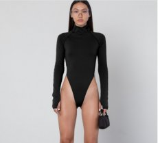 Solid High-necked Long Sleeve Bodysuit BLG-890492