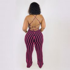 Plus Size Striped Straps Backless Jumpsuits ARM-8061