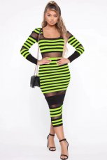 Classic Striped Mesh Patchwork Full Sleeve Long Dresses MYP-8889