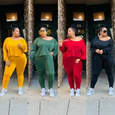 Plus Size 4XL Solid Long Sleeve Two Piece Suits OMF-125