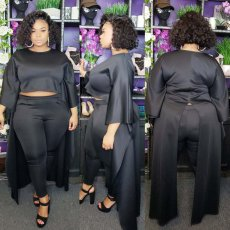 Plus Size 4XL High Low Tops And Pants 2 Piece Suits OMF-119