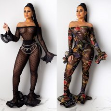 Sexy See Through Bodysuit And Pants 2 Piece Sets LUO-6241