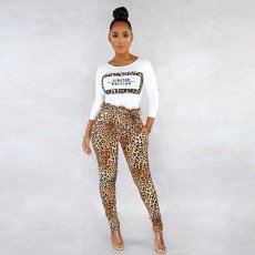 Leopard Print Long Sleeve Two Piece Pant Sets SH-3706