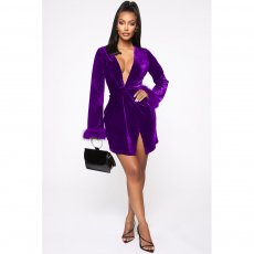 Sexy Velvet Deep V Neck Long Sleeve Mini Dress ASL-6223