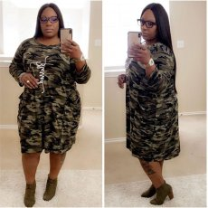 Camouflage Print Long Sleeves Midi Dress Plus Size 5XL QY-5149