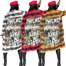 Plus Size Plaid Print Patchwork Loose Long Coats MTY-6237