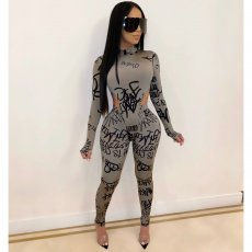 Sexy Letter Print Bodysuit And Pants Two Piece Sets CHY-1205