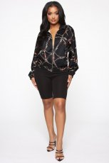 Chain Print Zipper Long Sleeve Loose Jacket Coat BGN-037