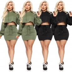 Casual Hooded Long Sleeve Mini Skirt 2 Piece Sets ASL-6221