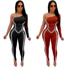 Sexy One Shoulder Reflective Strip Skinny Jumpsuits OSM-4087