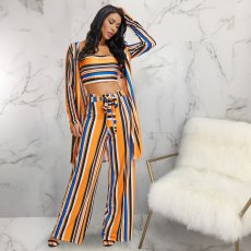 Sexy Striped Tube Top Long Cardigan And Pant Sets ME-166