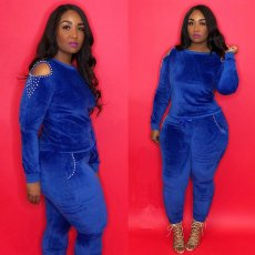 Trendy Velvet Pearls Cold Shoulder Two Piece Suit LM-8104
