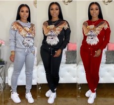 Casual Sequins Patchwork Sweatshirt Two Piece Sets HM-6179