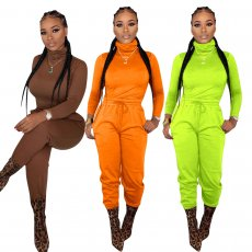 Solid Turtleneck Long Sleeves Two Piece Sets YD-8160