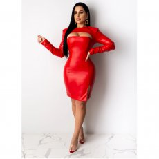 Sexy PU Leather Hollow Long Sleeve Mini Dresses OYF-8181