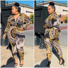 Plus Size 4XL Printed Long Sleeves Two Piece Outfits OMF-154