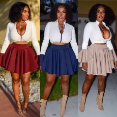 Plus Size Sexy Zipper Crop Tops Pleated Mini Skirt Sets LP-6183