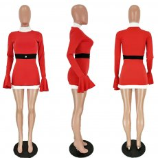 Christmas Flare Sleeves Party Club Costume Mini Dress NM-8086