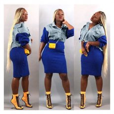 Casual Patchwork Denim Top And Skirt 2 Piece Sets LA-3160