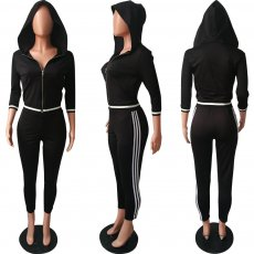 Casual Hooded Zipper Two Piece Pants Suit HMS-5273