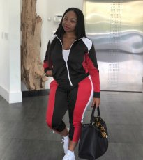 Casual Patchwork Zipper Tracksuit Two Piece Sets QY-5147